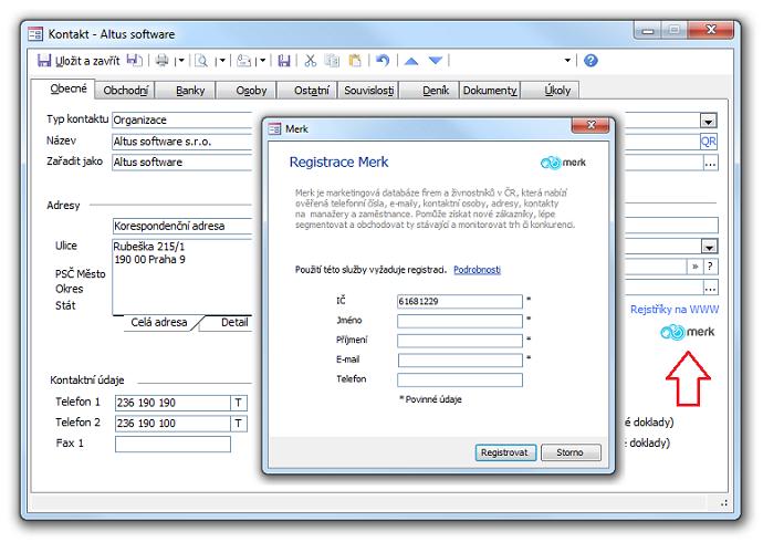Detail záznamu Kontakt na kartě Obecné a dialog Registrace Merk