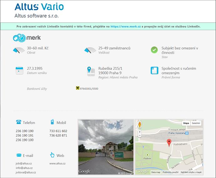 Ukázka výpisu informací o firmě Altus software z komerční databáze Merk
