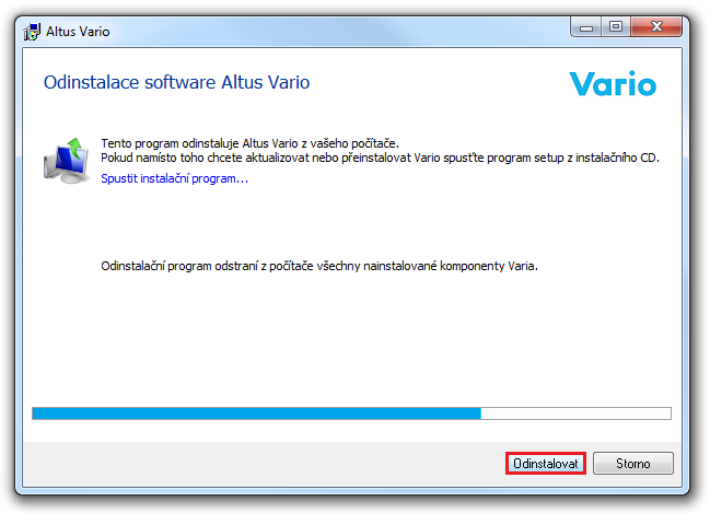 Odinstalace software Altus Vario