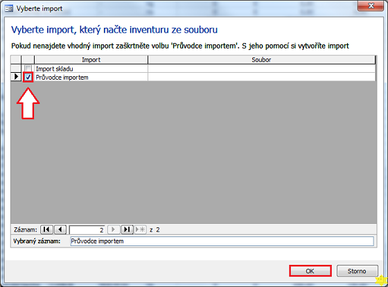 Dialog Vyberte import