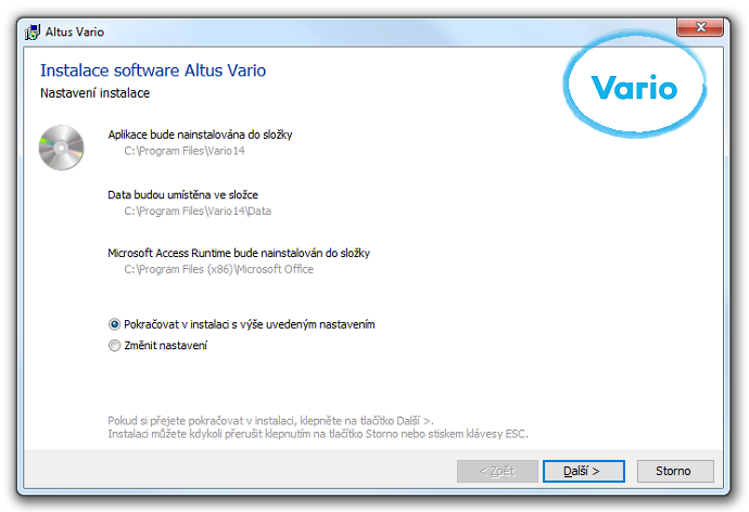 Instalace software Altus Vario